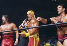 Moments after Hulk Hogan turned heel turn and joined forces with Scott Hall and Kevin Nash to create the nWo. WCW Bash at the Beach, 1996.