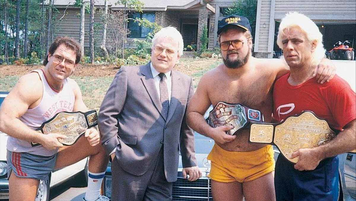 Tully Blanchard, JJ Dillon, Arn Anderson, and Ric Flair of The Four Horsemen.