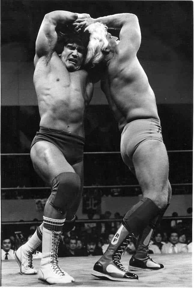 Rick Flair and Ricky Steamboat twisting around each other in a match