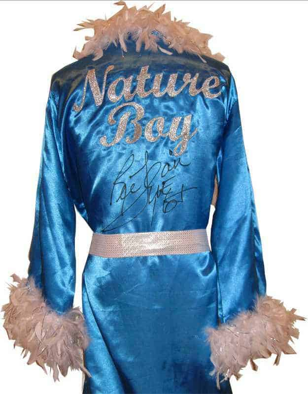 photo of Blue Satin Nature Boy Robe trimmed with white feathers