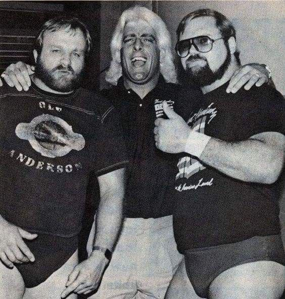 Ole Anderson, Ric Flair, and Arn Anderson of The Four Horsemen.