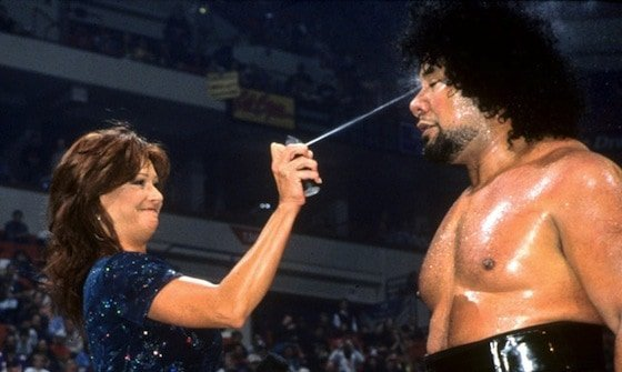 Miss Elizabeth maces Meng in the ring and he just stands there