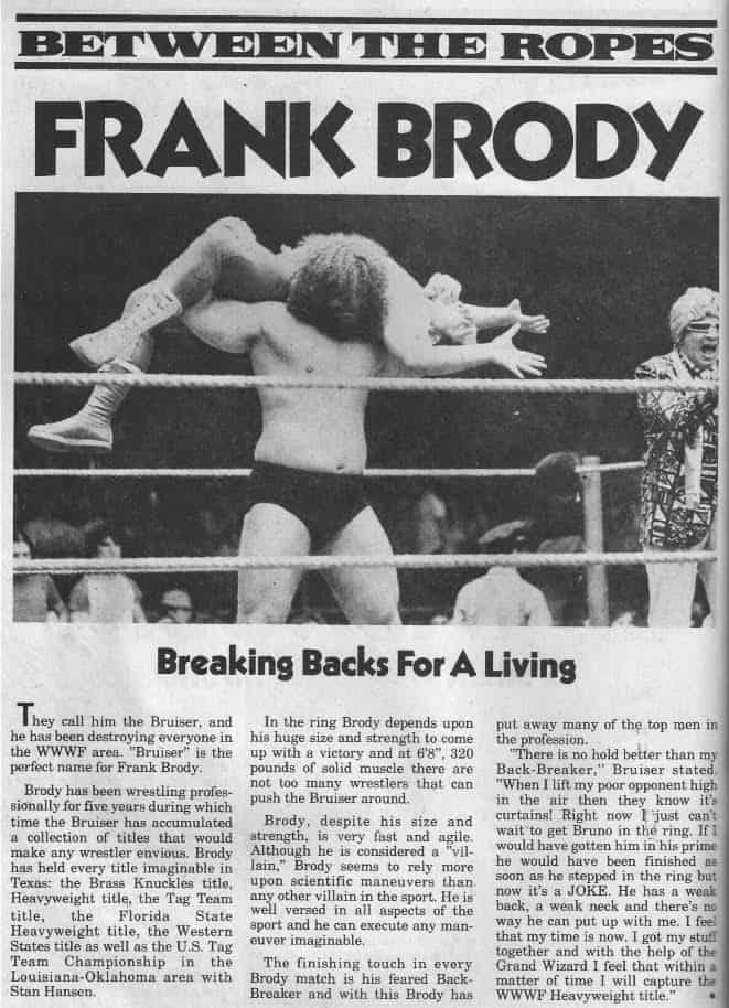 Between the Ropes newspaper clipping on an interview with Frank Brody