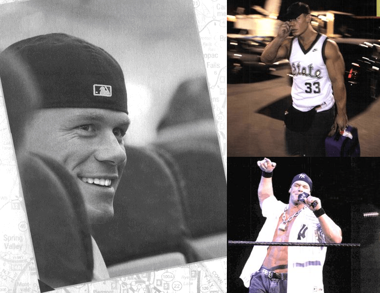 Collage of John Cena on a bus with 2 photos of him free-stylin