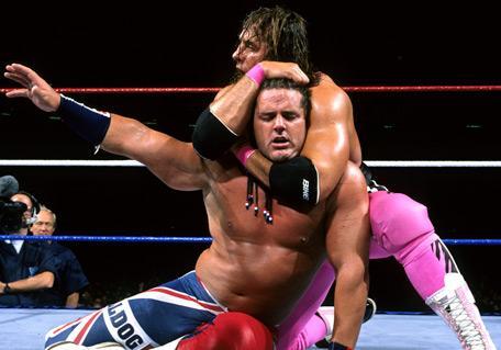 Bret Hart putting British Bulldog in a headlock at SummerSlam 1992