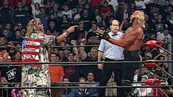 Ultimate Warrior and Hulk Hogan face off at WCW Halloween Havoc 1998.