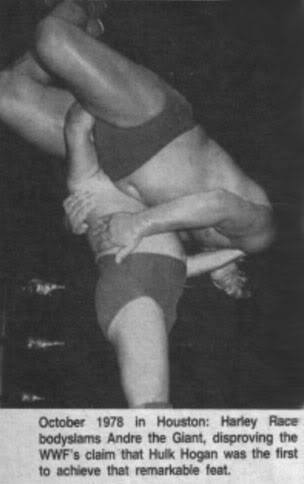 Newspaper clip showing Harley Race body slamming Andre the Giant disproving that Hulk Hogan did it first