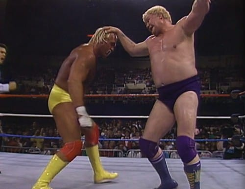 Harley Race pounding Hulk Hogan in the ring