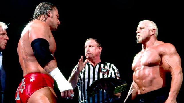 Kliq member Triple H squaring off against Big Bad Booty Daddy Scott Steiner at the 2003 Royal Rumble