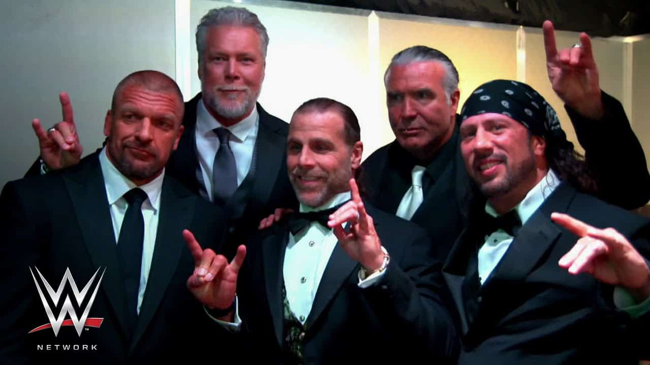 The Kliq now dressed in tuxedos: Triple H, Kevin Nash, Shawn Michaels, Scott Hall and Sean Waltman