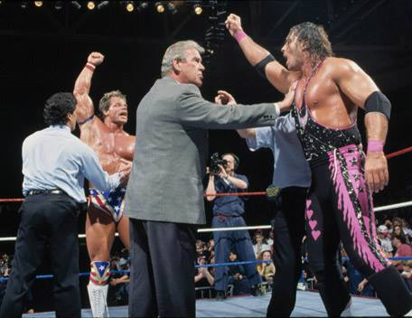 Lex Luger and Bret Hart argue over who won at the 1994 Royal Rumble