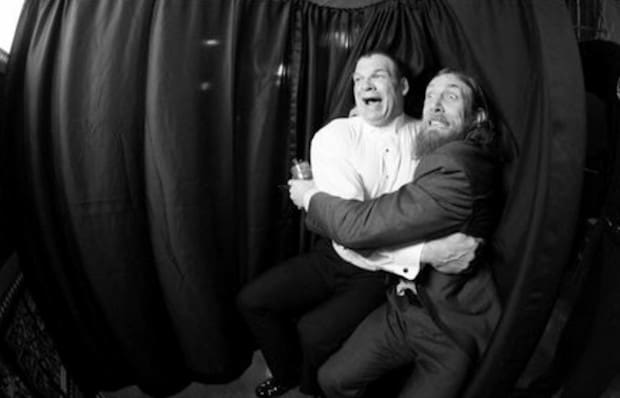 Kane and Daniel Bryan share a moment together in the photo booth before the 2013 Hall of Fame