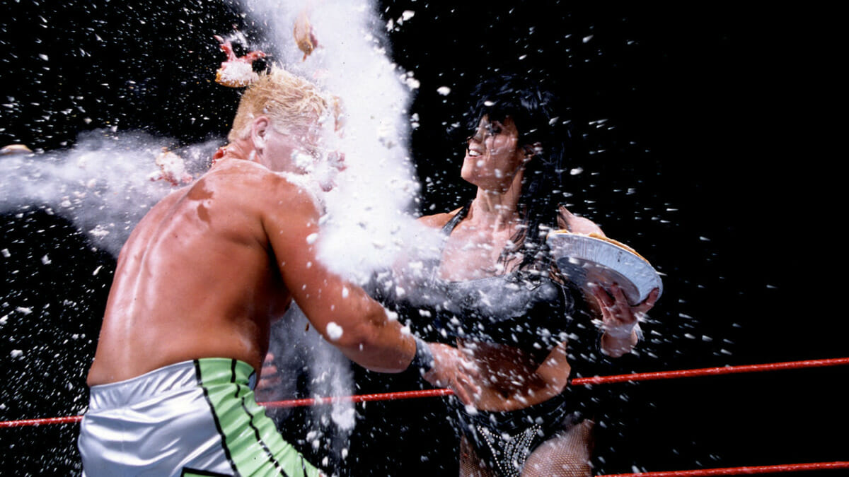 Chyna dishes out the pain to Jeff Jarrett using flour. As you do.
