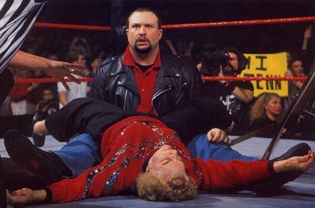 Bubba Ray Dudley goes into a trance after realizing Mae Young left his bread basket with an uninvited blast of her own!