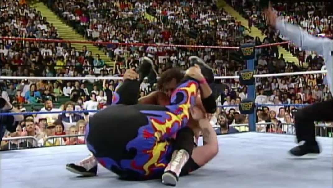 Farts in Wrestling shows Bret Hart as he pins the Beast from the East via a bottom blasted victory roll at the 1993 King of the Ring tournament