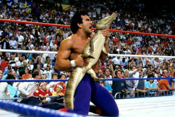 Ricky Steamboat and his komodo dragon in the ring