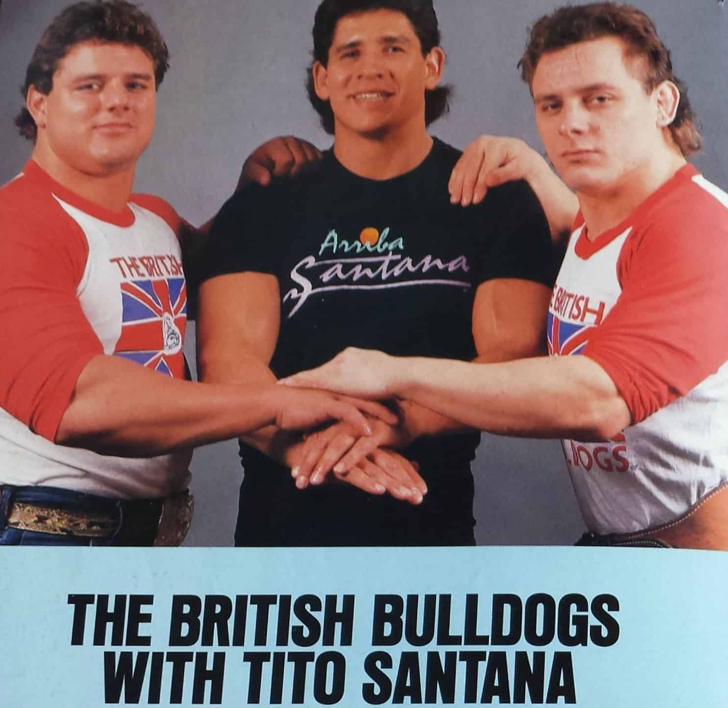 The British Bulldogs and Tito Santana with their hands stacked