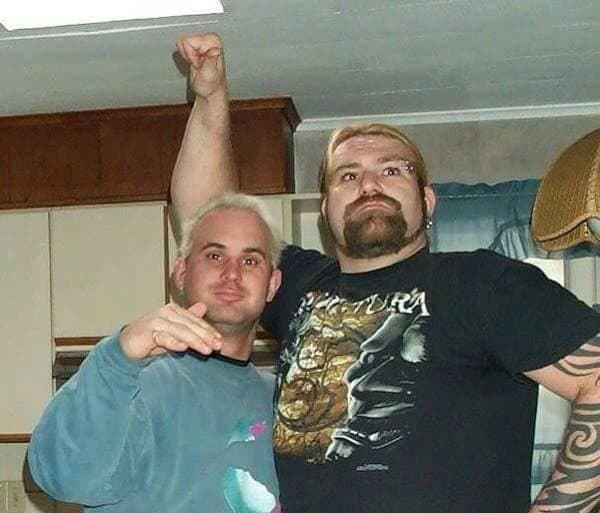 Chris Candido and Balls Mahoney at Ball's home just before the Chicken 'Balls' Mahoney incident!
