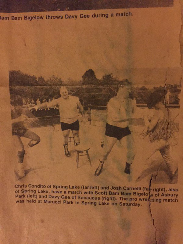 Bam Bam Bigelow's first live match, at 12-year old Chris Candido's show at Marucci Park in Spring Lake, New Jersey