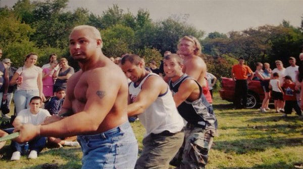 Team Jersey (including Jonny and Chris Candido) locking up and mean-mugging before unleashing their plan of attack against a professional tug of war team at Bam Bam Bigelow's Bam Fest.
