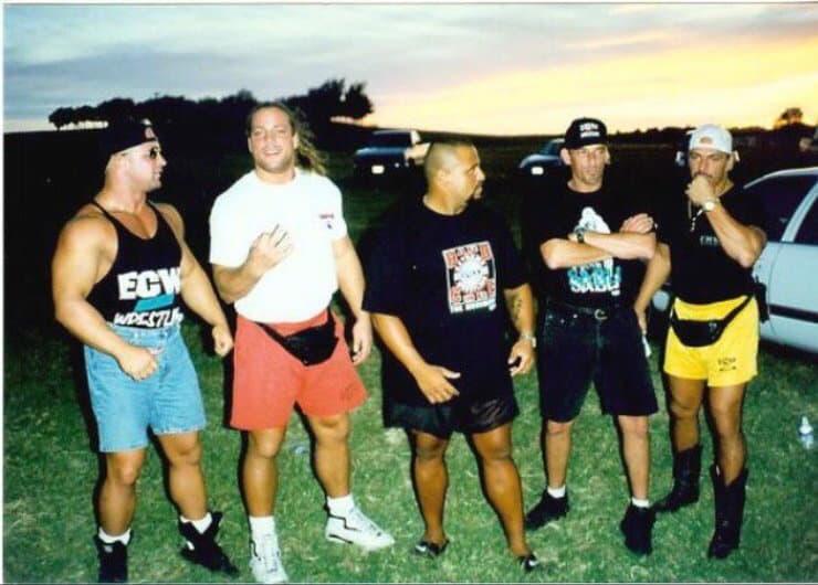 Chris Candido with friends RVD, Taz, 'Fonzie' Bill Alfonso, and Sabu.