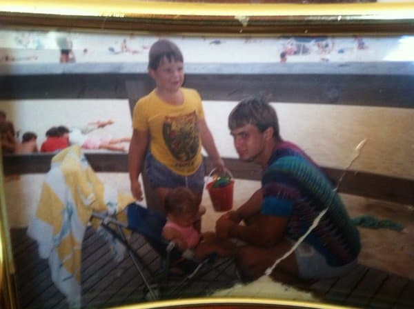 Chris Candido, Jonny, and their younger sister hanging out at their beach back in the day.