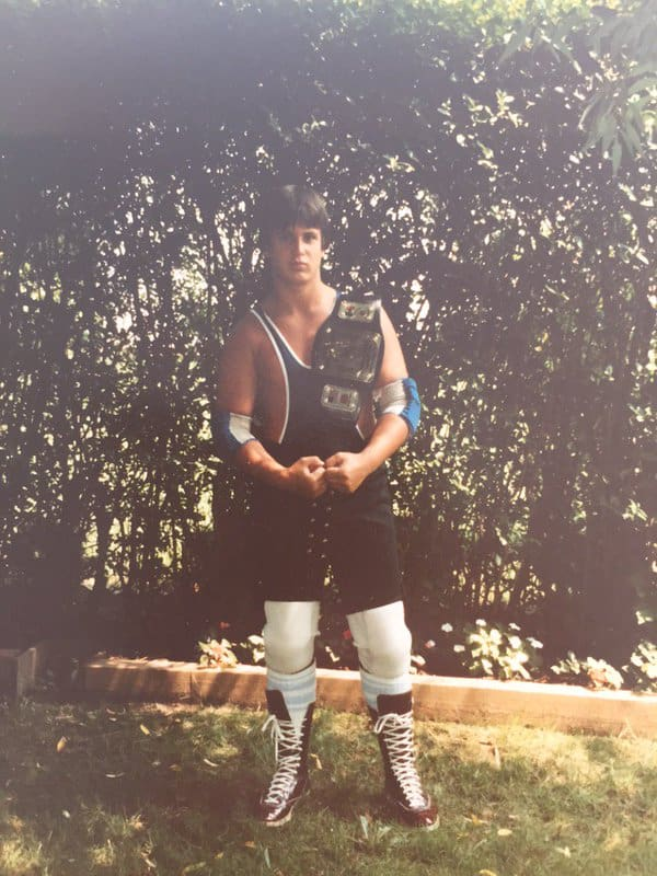 Chris Candido, age 12, getting his promo picture taken in the Candido yard before heading to Marucci Park for his show