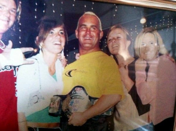A picture with Chris Candido, Tammy Sytch, Jonny Candido, and some of their friends goofing around in the ring a few months before his death. Chris was all smiles during this time of his life.