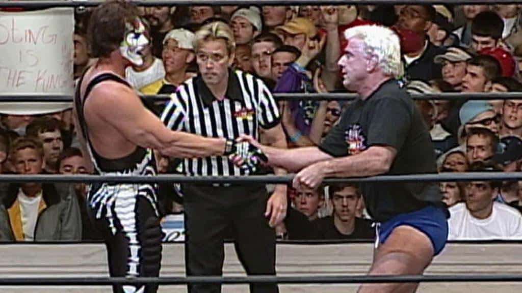 Sting in WWE - Sting and Ric Flair on the final episode of Monday Nitro