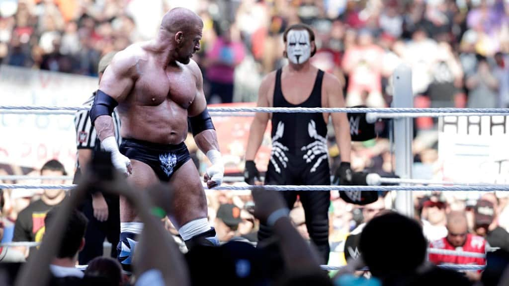 Stinger faces off in the ring against Triple H at WrestleMania 31