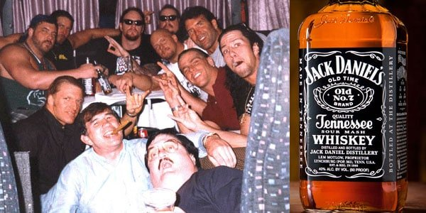 Collage of a group of guys partying including Kevin Nash (second from left in back) and The Undertaker (back center) and a bottle of Jack Daniels Whiskey