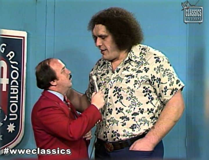 'Mean' Gene Okerlund interviewing Andre the Giant on WWE