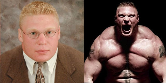 collage of Brock Lesnar looking professional in a suit and tie and of him flexing his muscles and screaming