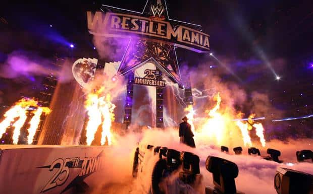 The undertaker making his entrance in all black on the runway at WrestleMania 25