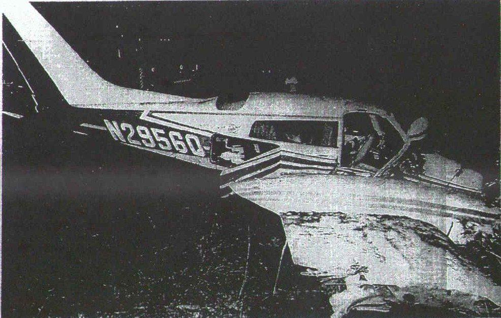 The aftermath of the plane crash which had Ric Flair, John Valentine, Bob Bruggers, Tim Woods and David Crocket on board, October 4, 1975.