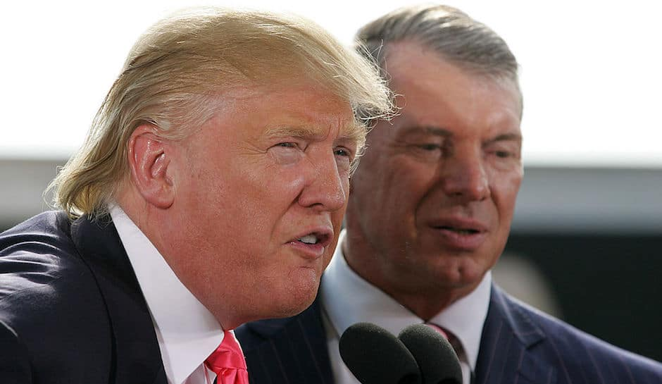 Donald Trump and Vince McMahon, at a WWE press conference in 2009