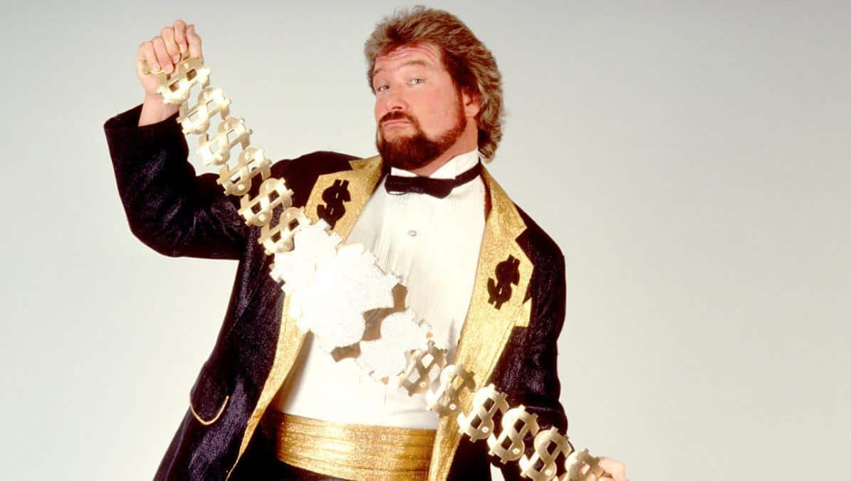 Million Dollar Man Ted DiBiase showing off his Million Dollar Championship belt.