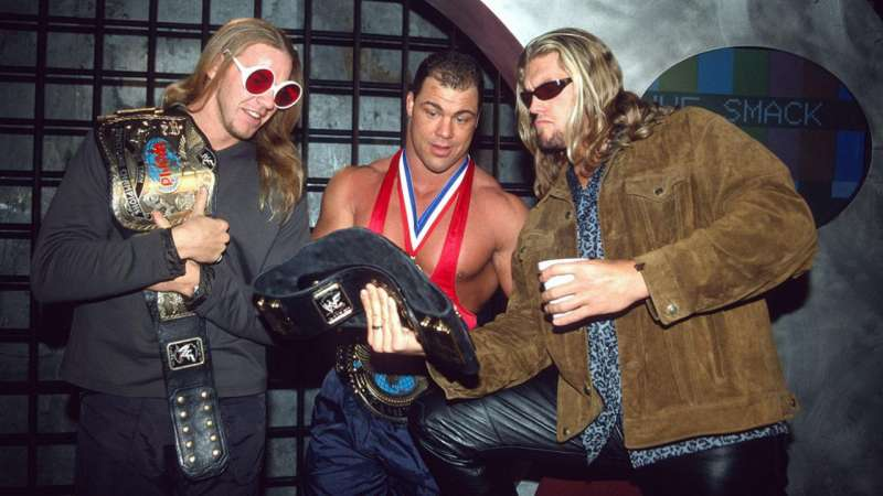 Kurt Angle with two of his closest friends from the road, Christian and Edge