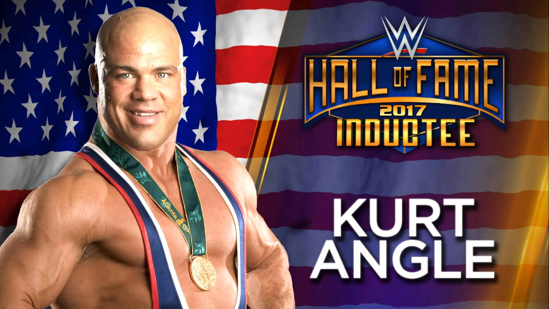Graphic of Kurt Angle with gold medal on his neck for this Hall of Fame Induction