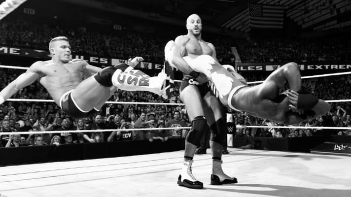 Tyson Kidd and Cesaro with some tandem offense on New Day