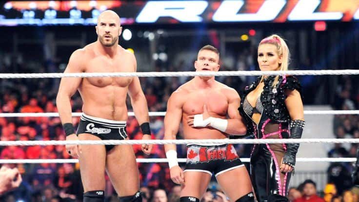 Tyson Kidd with his wife Natalya and Cesaro at Payback 2015 before his Wrestling Injury