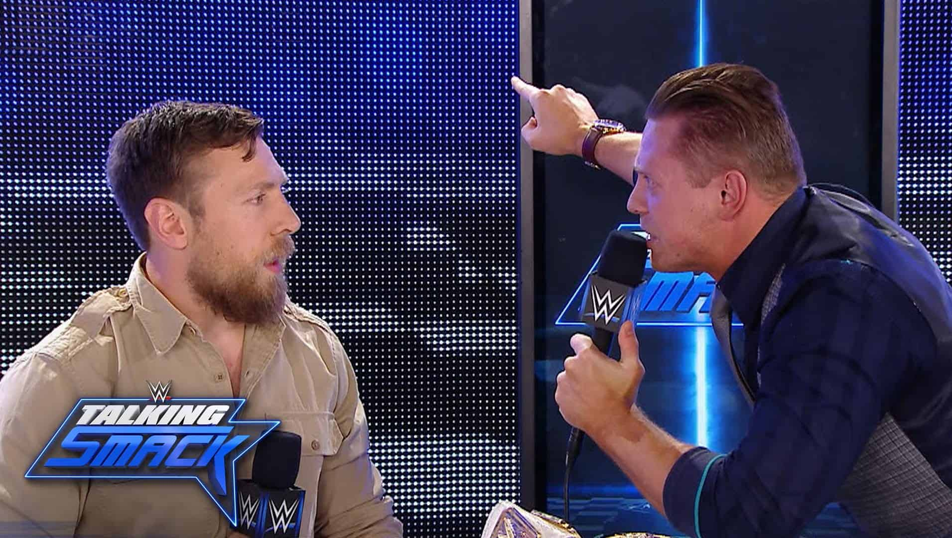 The Miz with a red face arguing with Daniel Bryan on Talking Smack
