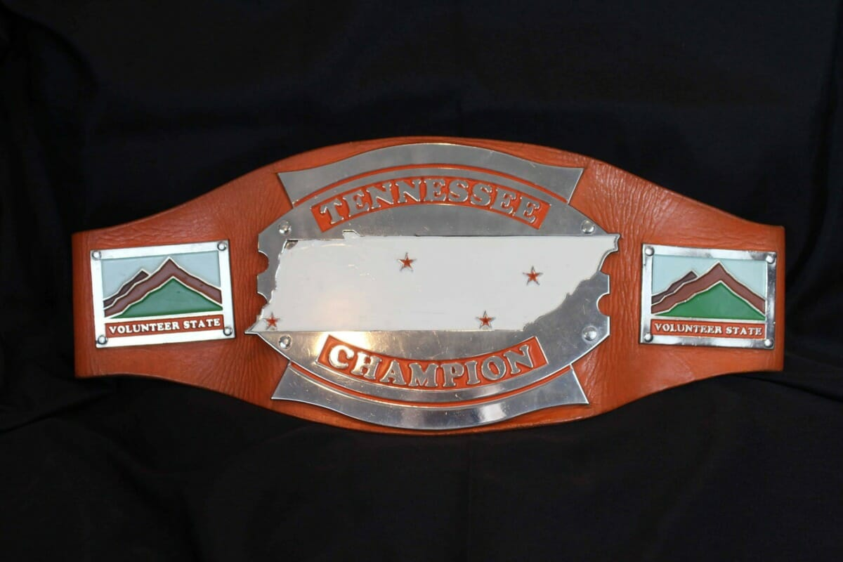 The orange, white and green Tennessee heavyweight title belt, worn by 'Nature Boy' Buddy Landel,