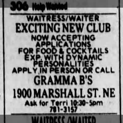 A Gramma B's classified ad from the Minneapolis Star Tribune, January 1980