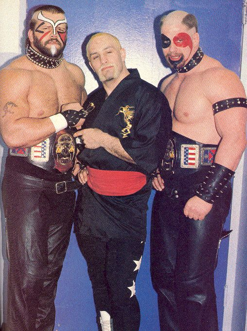 The Road Warriors with manager PaulEllering, sometime between '83-84