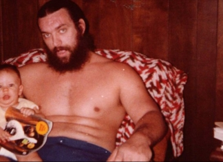 Bruiser Brody with his son, Geoffrey. Brody died on July 17, 1988, from stab wounds suffered at the hands of Jose Gonzales in Bayamon, Puerto Rico.