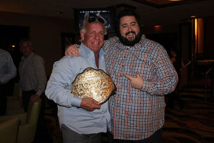Conrad Thompson with Good Friend Rick Flair who is holding a title belt
