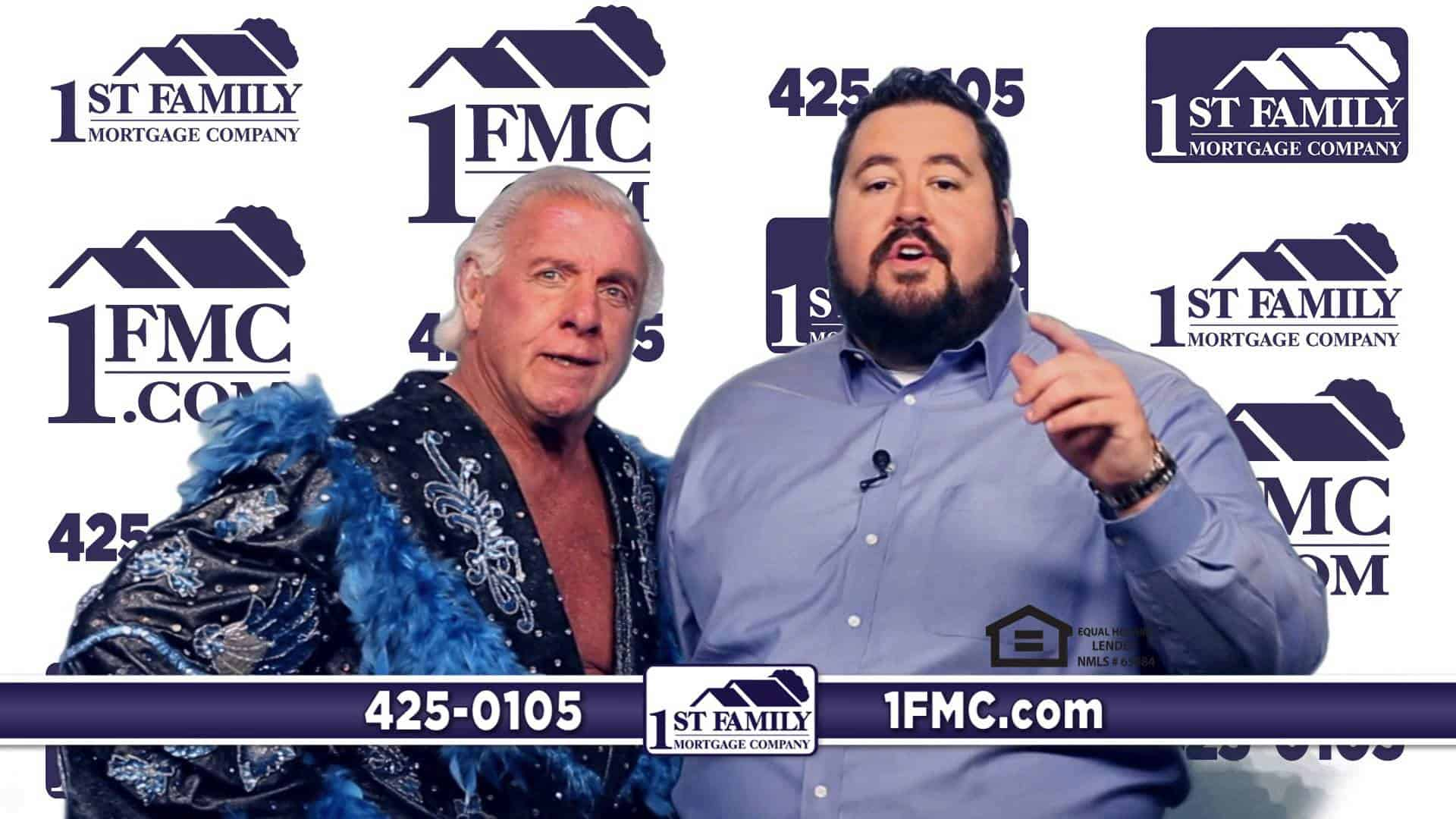 Conrad Thompson with Rick Flair in an ad for his Mortgage Company, 1st Family 1fmc. com