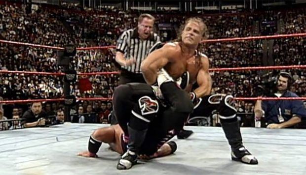 Shawn Micheals Pins Brett Hart with his own finishing hold in the most talked about conspiracy the Montreal Screwjob