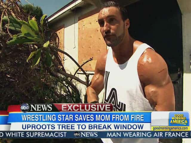 Chris Mordetzy, also known as Chris Masters in WWE and Chris Adonis in TNA, being interviewed on Good Morning America in 2013 after helping save the life of his mother